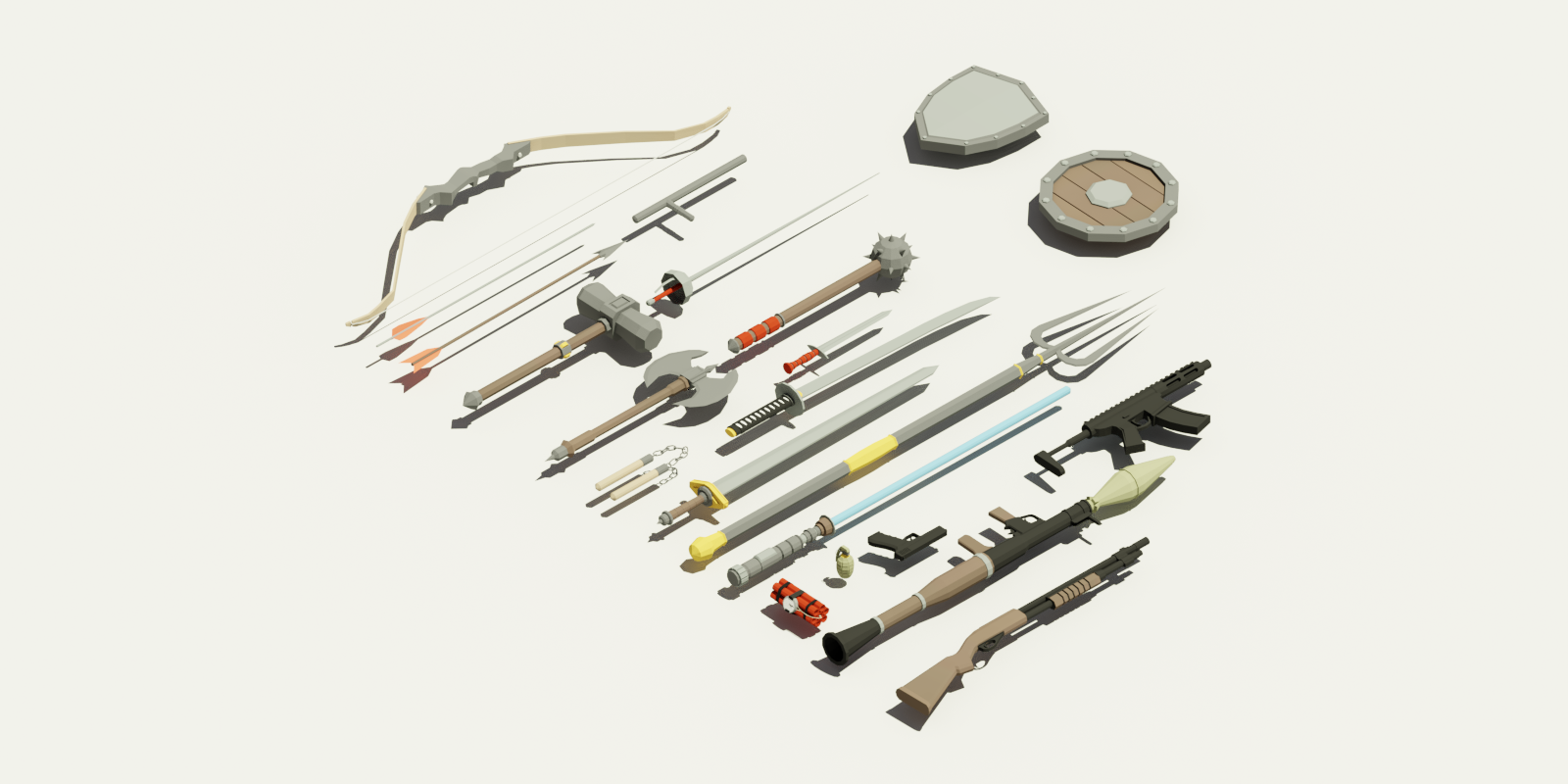 23 Free CC0 Weapons Lowpoly Models : gamedev