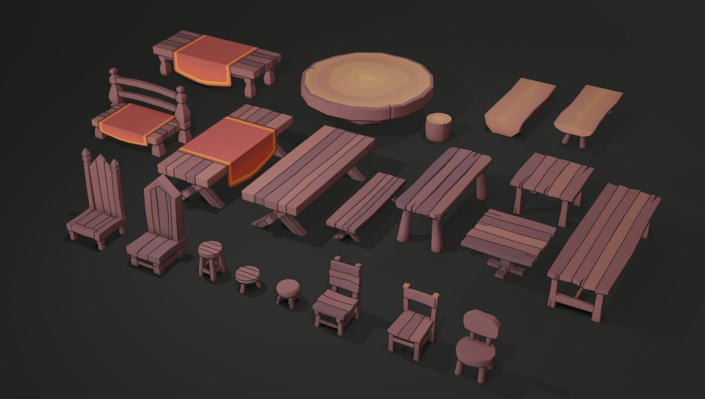 wooden low poly lowpoly 3d models fantasy chairs tables